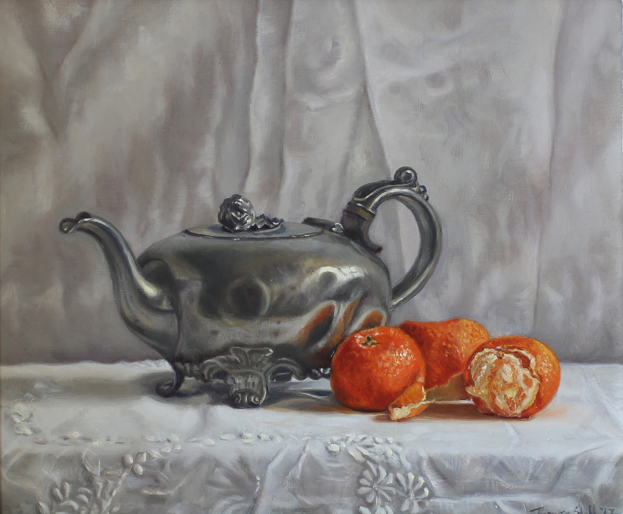 Pewter Teapot Oil Painting