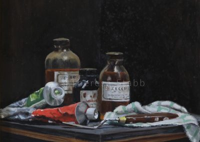 Still Life with Paints, Oil on board, 2013.