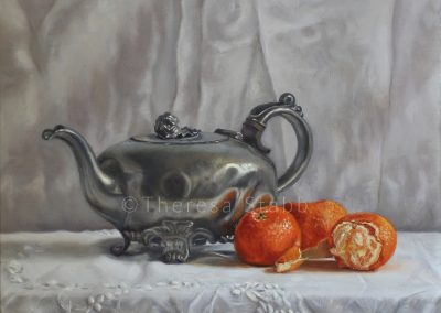 Still Life with Pewter Teapot, Oil on board, 2017.