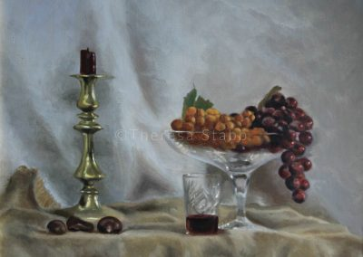 Sill Life with Grapes, Oil on canvas, 2013. SOLD.