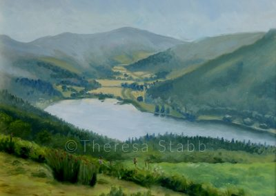 Talybont Reservoir, Oil on board, 2013.