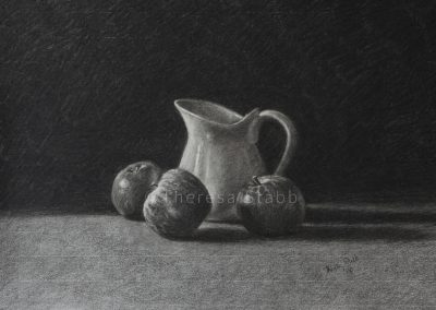 Jug and Apples charcoal on paper