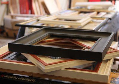 Handmade frames in the workshop