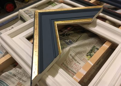 Handmade frames, chevron gilded and painted