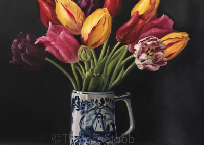 Tulips Still Life, Oil on canvas, 2019.