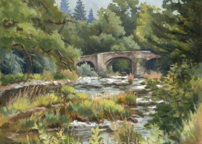 The Stone Bridge, Abercamlais, Oil on board, 2018. SOLD.