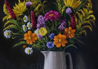 Jug of Flowers, Oil on canvas, 2020.