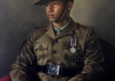 Oil painting of Rfn Suraj Gubaju, Ghurka soldier, Infantry Battle School, Royal Ghurka Rifles.